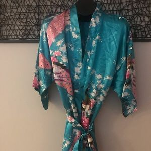Vintage Asian Robe with Peacock Pattern